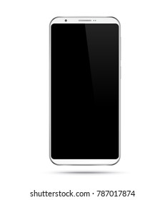 Smartphone mockup with black screen. White vector frameless smart phone, cellphone isolated on white background