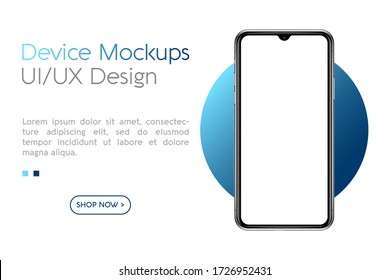 Smartphone mockup with blank screen. Frame less smartphone. Vector Illustration UI / UX design for your business