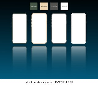 Smartphone mockup green grey gold and white colours for easy place demo on mobile screen. Vector illustration object for technology communication and applications.