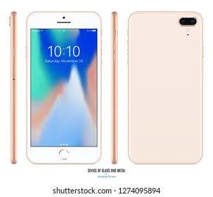 smartphone mockup in iphone style gold color with colorful screen front, back and side on white background. stock vector illustration eps10