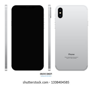 smartphone mockup in iphone style silver color with black screen view front, back and side on white background. stock vector illustration eps10