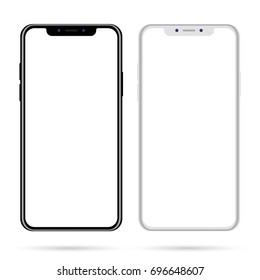 Smartphone mockup isolated on white background