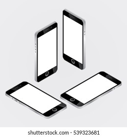 Smartphone mock-up, isometric and flat design styles. Cell phone. Flat isometric. Mobile device. Modern technologies of communication and management. Black smartphone. Touchscreen display.