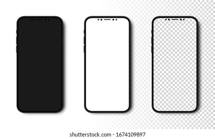 Smartphone mockup. Phone with Black, White and Transparent Screen. Cell Phone with different Screens. Template mockup smartphone in realistic design. Vector illustration.