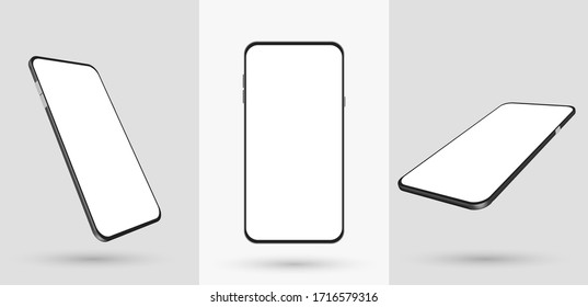Smartphone mockup in rotated position. Mobile from different angles with blank screen. Template for presentation 3D realistic device. Vector illustration for banner, flyer, business card.
