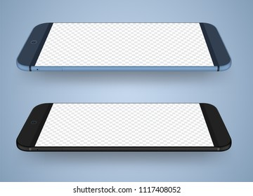 Smartphone mockup transparent screen for easy place demo. Vector illustration for technology mobile phone.