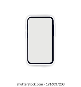 Smartphone mockup with white screen. Black vector frameless smart phone plus white offset path, cellphone isolated on white background