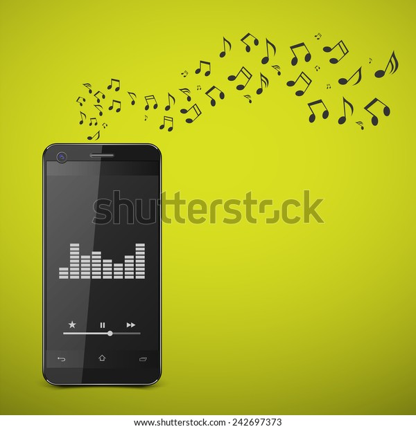 Smartphone with music notes.vector
