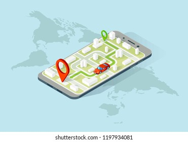 Smartphone navigation app isometric illustration. Car location tracker. City map navigator. Route planning. Geo tracking. Website, app, banner design. Online map search. Isolated vector