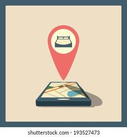 Smartphone navigation in modern flat design with a symbol of accomodation. Eps10 vector illustration