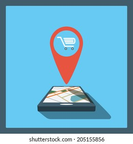 Smartphone navigation in modern flat design with a symbol of shopping, sales, discounts. Eps10 vector illustration