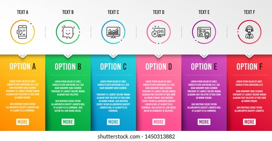 Smartphone notification, Reject access and Statistics icons simple set. Seo certificate, Smile and Shipping support signs. Chat message, Delete device. Business set. Infographic template. Vector