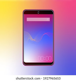 Smartphone on a beautiful gradient background. Abstract illustration of lines on the mobile phone screen. Colored vector illustration with gradient.