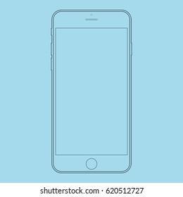 Smartphone outline black lines on blue background. Smartphone outline vector eps10. Mobile phone front side view outline.