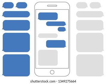 Smartphone Outline with Blank Chat Bubbles for Smartphone Messaging. - Illustration
