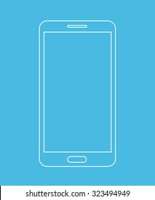 Smartphone outline icon isolated on blue background