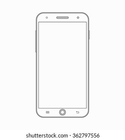 Smartphone outline icon. Modern mobile phone, cellphone wireframe template isolated on white background. Vector illustration
