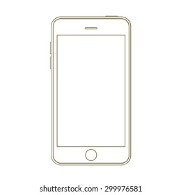 Smartphone outline mock up vector design template. Mobile phone line icon. Doodle cellphone.