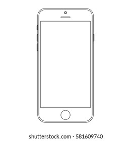 Smartphone outline template. mobile phone smartphone vector eps10. Mobile phone or Smartphone front view outline vector eps10.