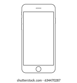 Smartphone outline vector eps10.  mobile phone icon. Smartphone outline vector eps10. Smartphone front side view black lines outline