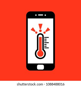 Smartphone overheating - smart phone has dangerous problem and trouble beacuse of heat and excessive warm temperature of device. Notification to cool mobile. Vector illustration.