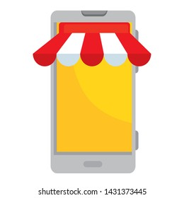 smartphone with parasol ecommerce app