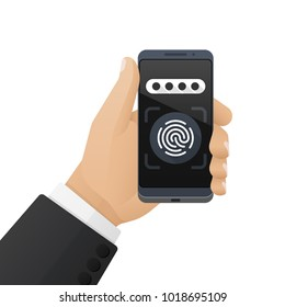 Smartphone with a password field and a fingerprint scanner application is in the businessman's hand. Vector illustration isolated on a white background