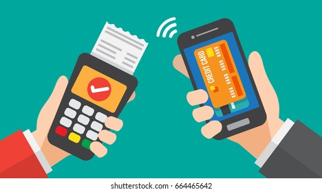 smartphone payment with credit card reader machine. vector illustration.