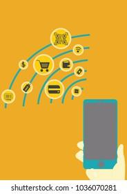Smartphone payment, QR code payment, online shopping, cashless technology concept, vector