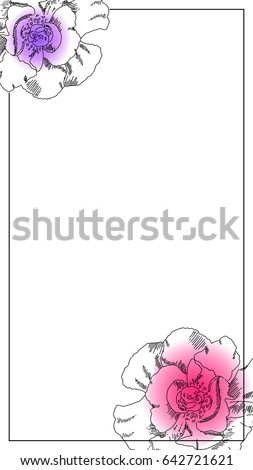 smartphone photo frame black ink peony stock vector royalty free