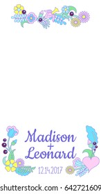 Smartphone photo frame. Handdrawn floral ornament. Snapchat wedding geofilter. Wedding invitation vector template. Romantic flower and leaf overlay for chat or messenger. Social media vertical banner