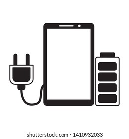 smartphone plug cable battery energy eletric vector illustration