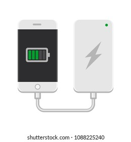 Smartphone with Powerbank on White Background. Vector
