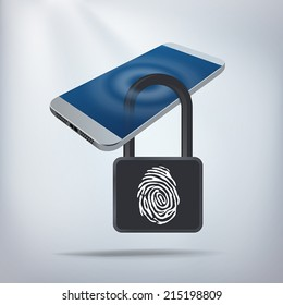 Smartphone Privacy Concept. Smartphone locked with biometric fingerprint padlock. Layered file for easy customization. Fully scalable vector illustration.