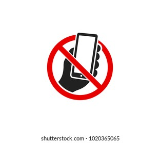 Smartphone and prohibitory sign logo template. It is forbidden to use a mobile phone vector design. Warning sign illustration