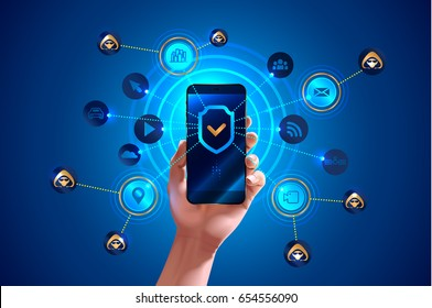 Smartphone is protected from hacker attacks, protected from viruses and spam, Antivirus. Hand holds smartphone. Shield icon on screen smart phone. Mobile security