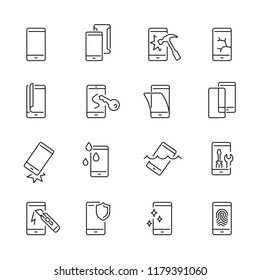 Smartphone protection related icons: thin vector icon set, black and white kit