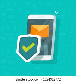 Smartphone protection vector illustration, flat cartoon design of mobile phone with security shield, cellphone protect concept, e-mail internet safety, email messages antivirus system, guard software
