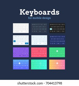 Smartphone QWERTY mobile keyboards mock-ups.  Variations in different colors and styles. Ideal for mobile design applications. Alphabetical keyboards for smartphone and app designs. Isolated on dark.