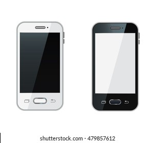 Smartphone. Realistic mobile phone with blank screen. Vector illustration. Isolated on white background. Set. Front view. Top view. Close up.