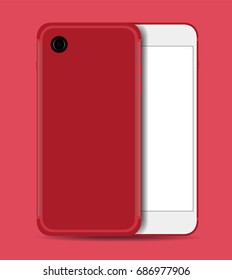Smartphone realistic red with white screen isolated on red background. Front and back view vector design.