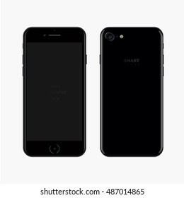 Smartphone realistic vector illustration. Black smart phone. New Phone front and back view. isolated iphon style smartphone.