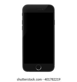 Smartphone realistic vector iphon illustration. Mobile phone mockup with blank screen isolated on white background