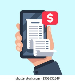 Smartphone receipt bill. Billing check online, bills checking and paycheck receipts mobile notification. Shopping cash bill slip, buying tax transaction service flat vector illustration