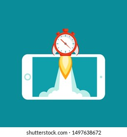 smartphone with red stopwatch rocket ship on the screen. Fast time stop watch, limited offer, deadline symbol. Vector illustration on blue. Time to work. Countdown clock shuttle