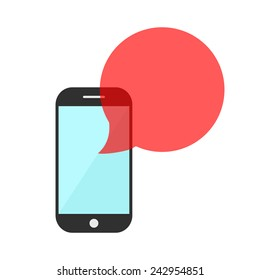 smartphone with red transparent speech bubble. concept of online communion, voicemail and chat application. isolated on white background. flat style trendy modern logo design eps10 vector illustration