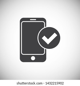 Smartphone related icon on background for graphic and web design. Simple illustration. Internet concept symbol for website button or mobile app.