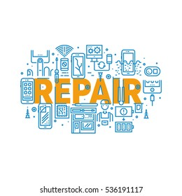 Smartphone Repair And Service Line Banner Concept Cell Phone Broken Screen, Water Damage, Signal And Settings Problems, Repair Shop, Tools, Repairman. Vector Logo Pictograms. Mini Concepts