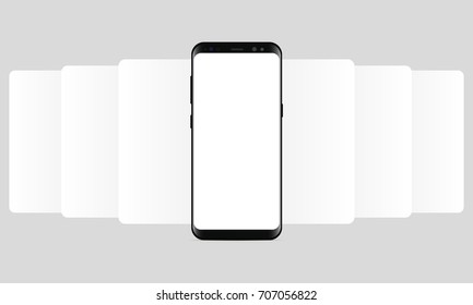 Smartphone Samsung Galaxy S8 with blank wireframing screens. Web-design concept - app screen mockup to create and showcase your mobile ui kit. Vector illustration