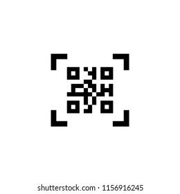 Smartphone Scanning QR Code. Flat Vector Icon illustration. Simple black symbol on white background. Smartphone Scanning QR Code sign design template for web and mobile UI element